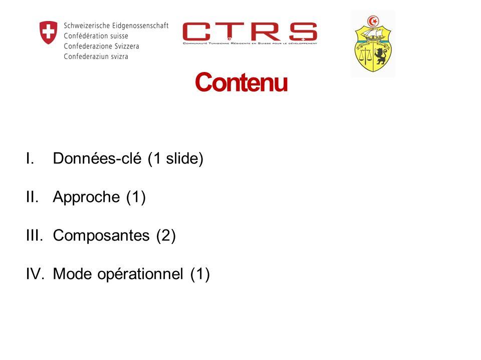 Contenu Données-clé (1 slide) II. Approche (1) III. Composantes (2)