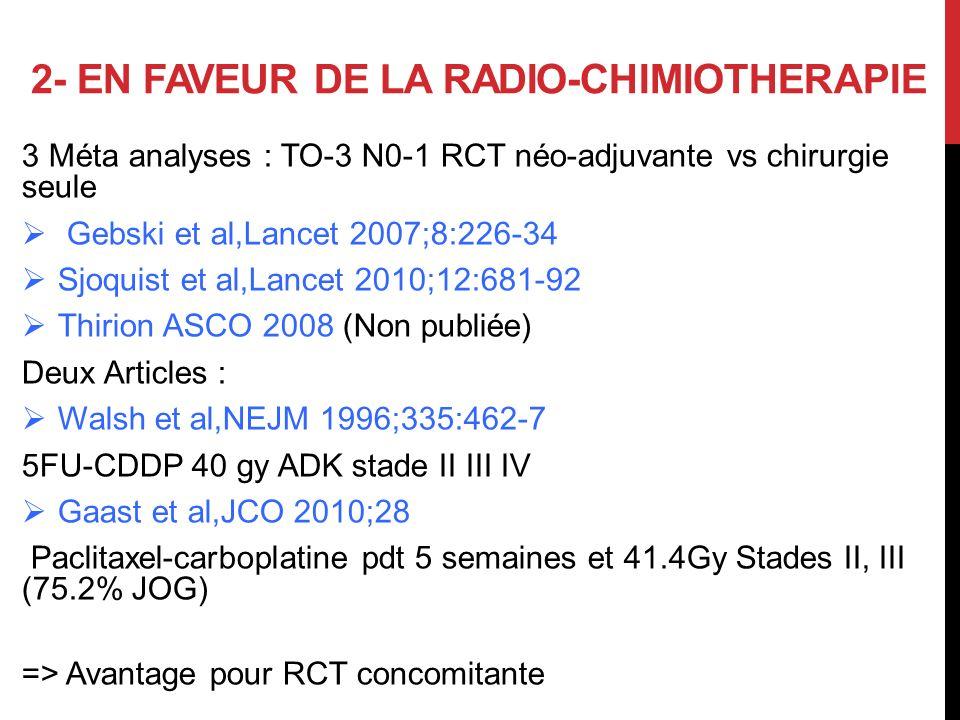 2- EN FAVEUR DE LA RADIO-CHIMIOTHERAPIE