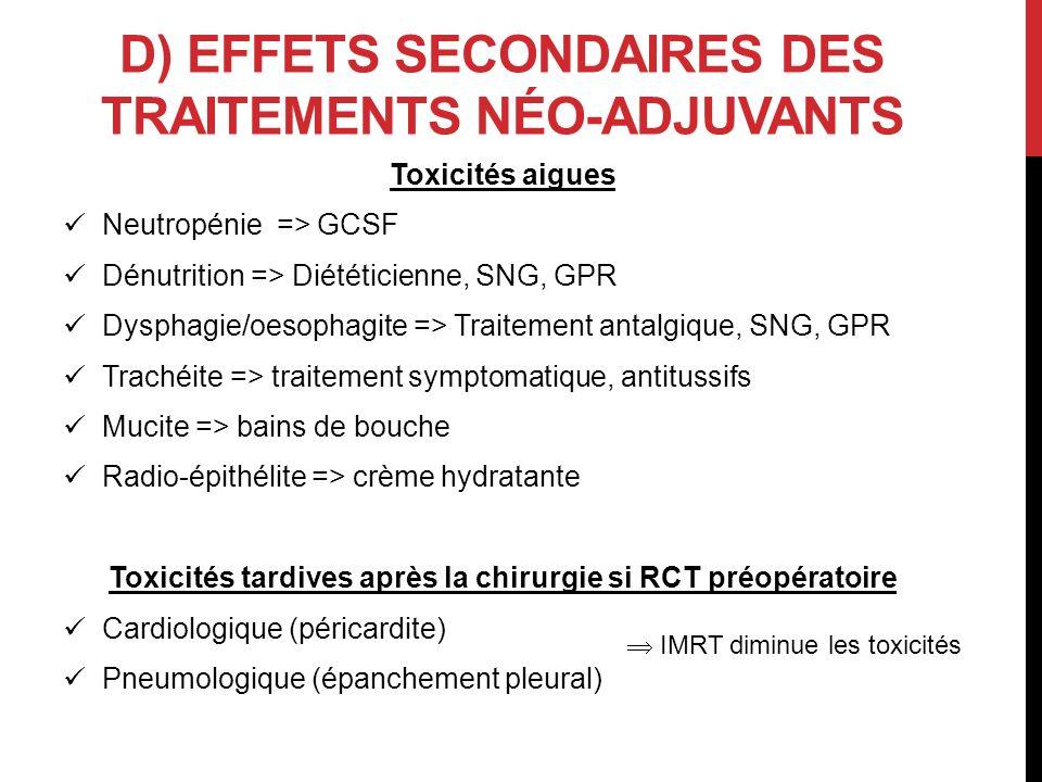 D) Effets secondaires des traitements néo-adjuvants