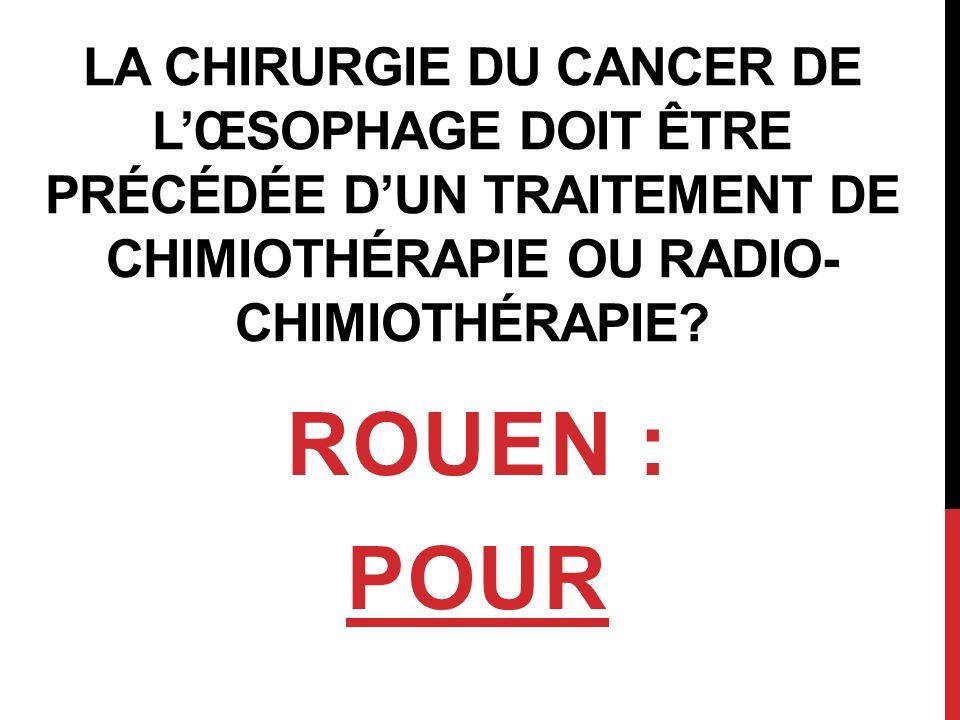 La chirurgie du cancer de l'œsophage doit être précédée d'un traitement de chimiothérapie ou Radio-chimiothérapie