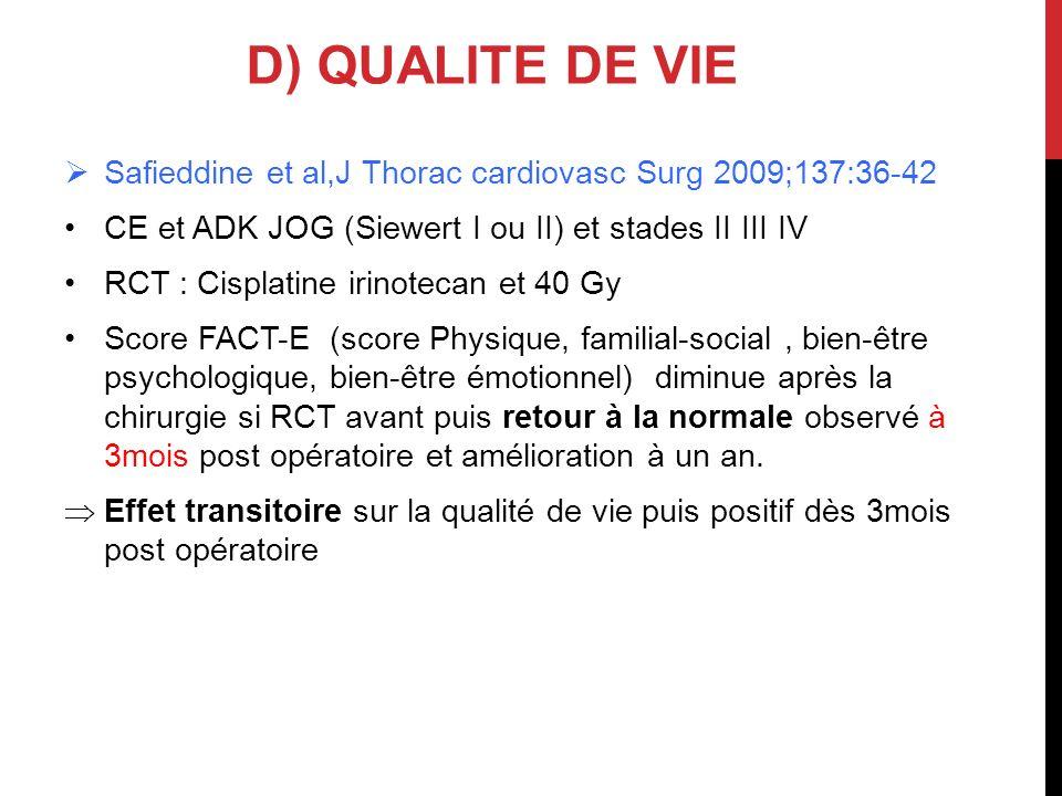 D) QUALITE DE VIE Safieddine et al,J Thorac cardiovasc Surg 2009;137:36-42. CE et ADK JOG (Siewert I ou II) et stades II III IV.