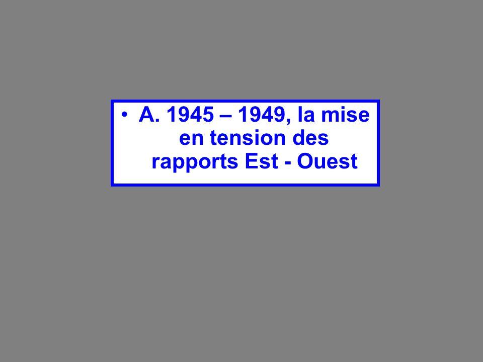 A. 1945 – 1949, la mise en tension des rapports Est - Ouest