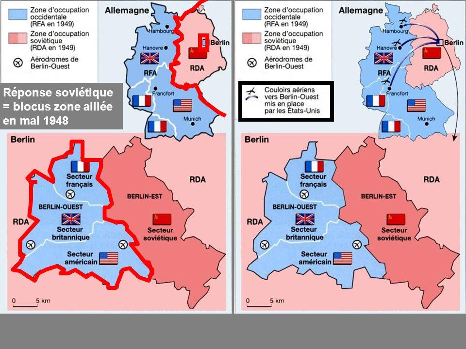 Réponse soviétique = blocus zone alliée en mai 1948