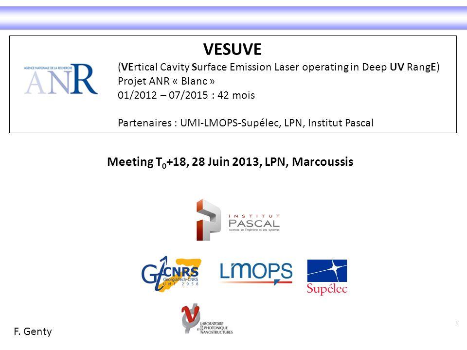 VESUVE Meeting T0+18, 28 Juin 2013, LPN, Marcoussis