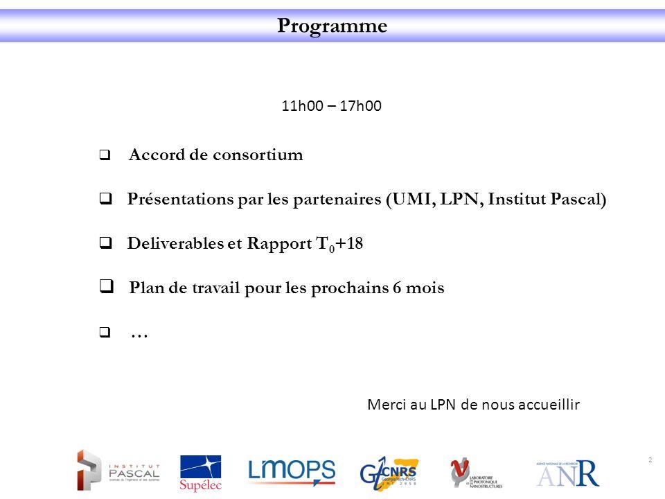 Programme 11h00 – 17h00. Accord de consortium. Présentations par les partenaires (UMI, LPN, Institut Pascal)
