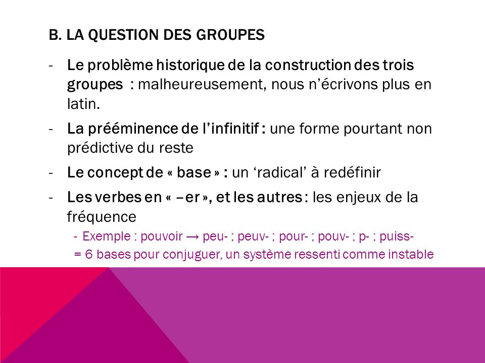B. La question des groupes