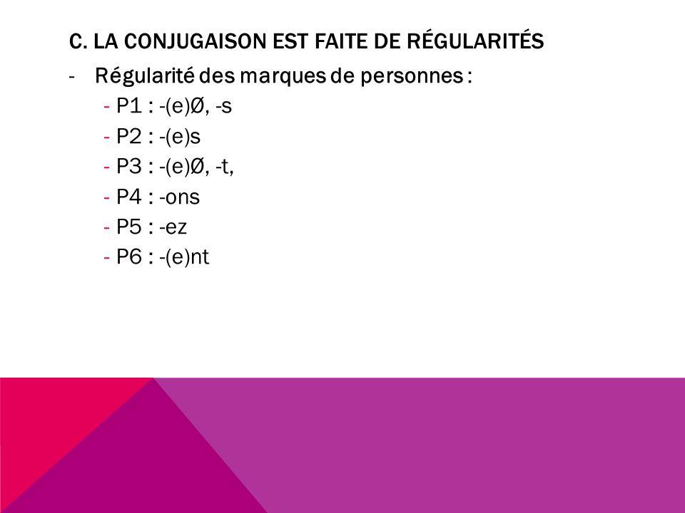 C. La conjugaison est faite de régularités