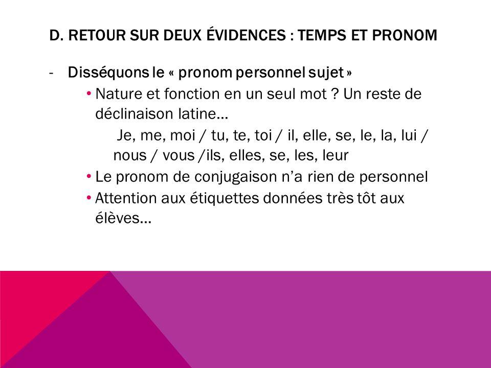 D. Retour sur deux évidences : temps et pronom