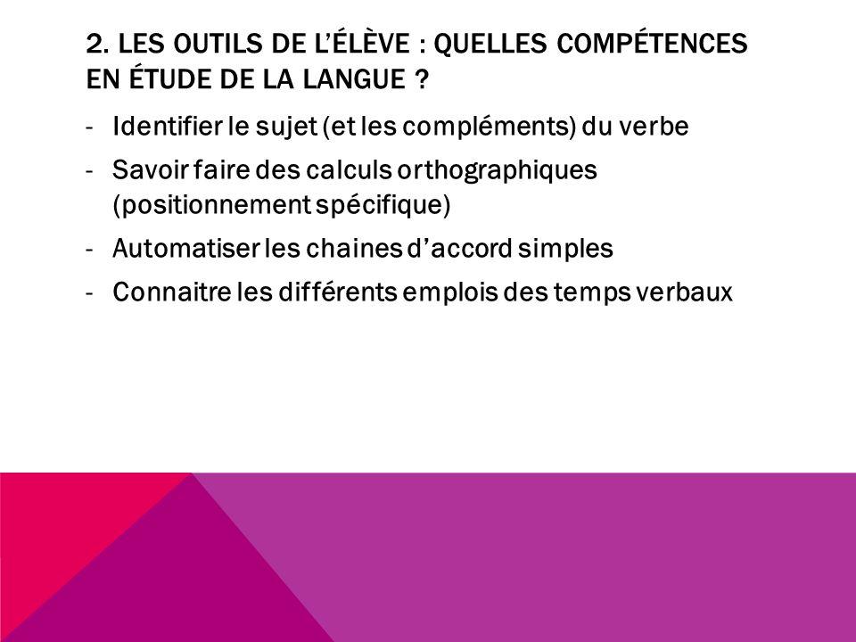 2. Les outils de l'élève : quelles compétences en étude de la langue