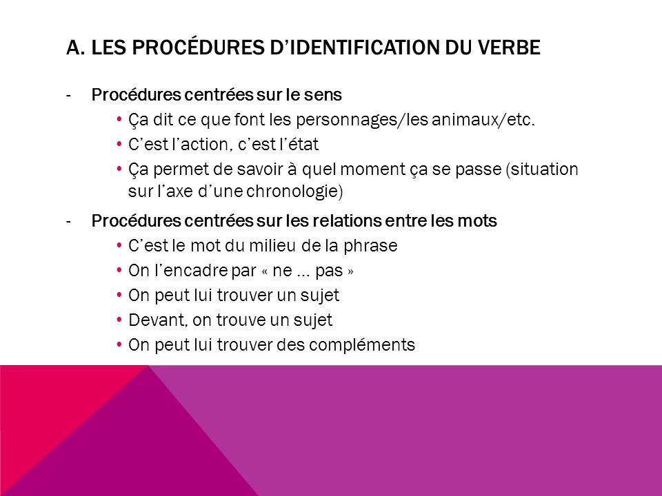 a. Les procédures d'identification du verbe