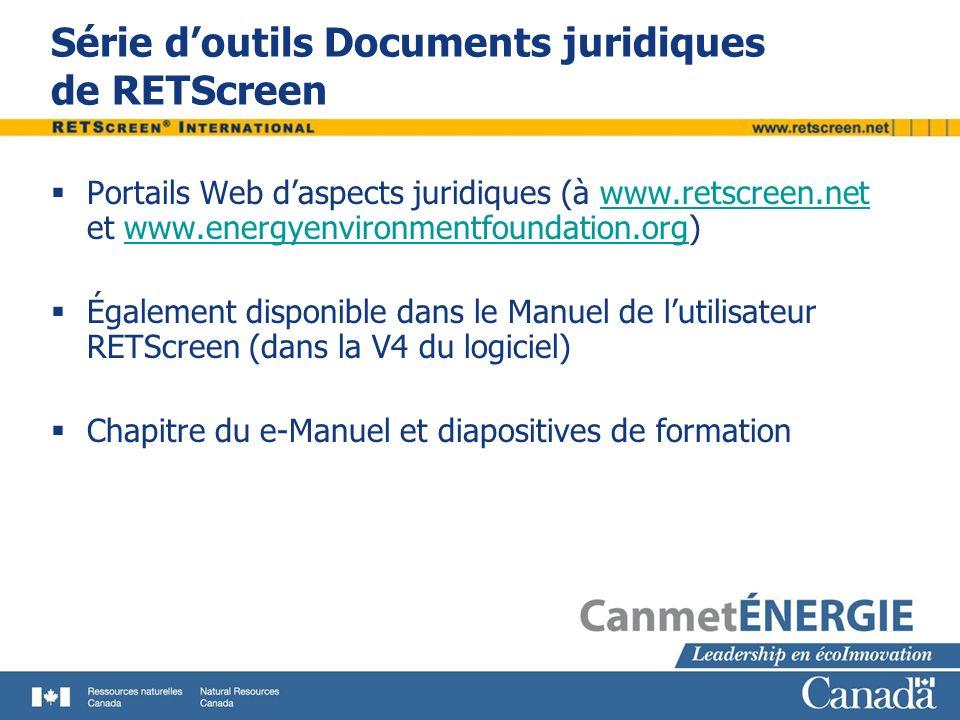 Série d'outils Documents juridiques de RETScreen