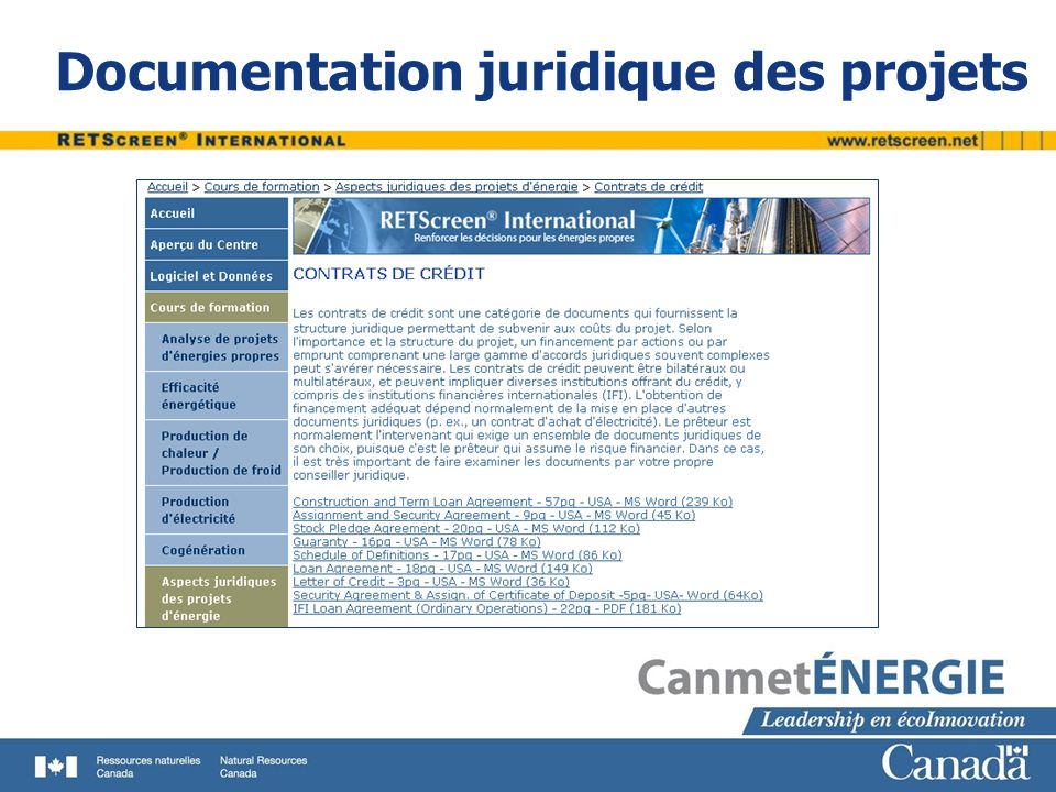 Documentation juridique des projets