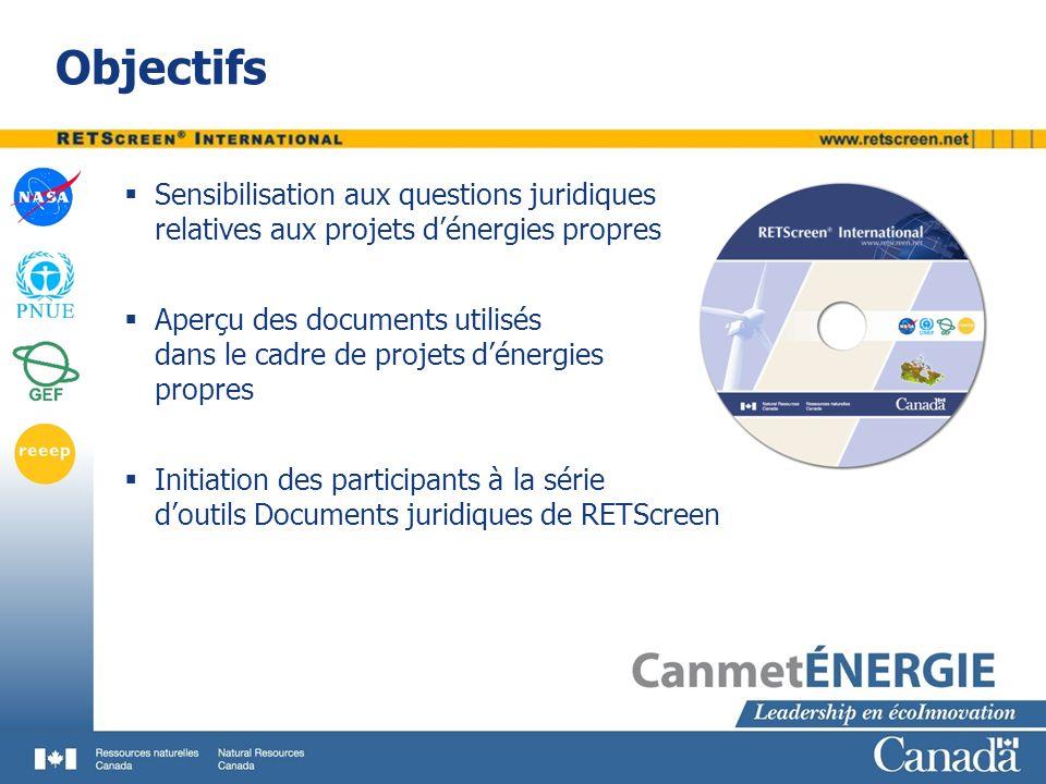 Objectifs Sensibilisation aux questions juridiques relatives aux projets d'énergies propres. Aperçu des documents utilisés.