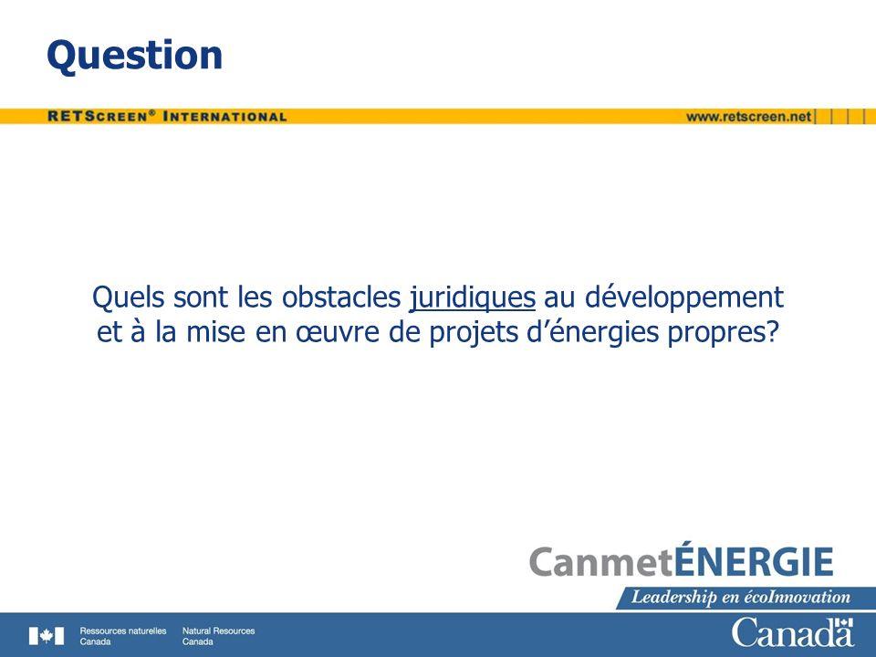 Question Quels sont les obstacles juridiques au développement et à la mise en œuvre de projets d'énergies propres