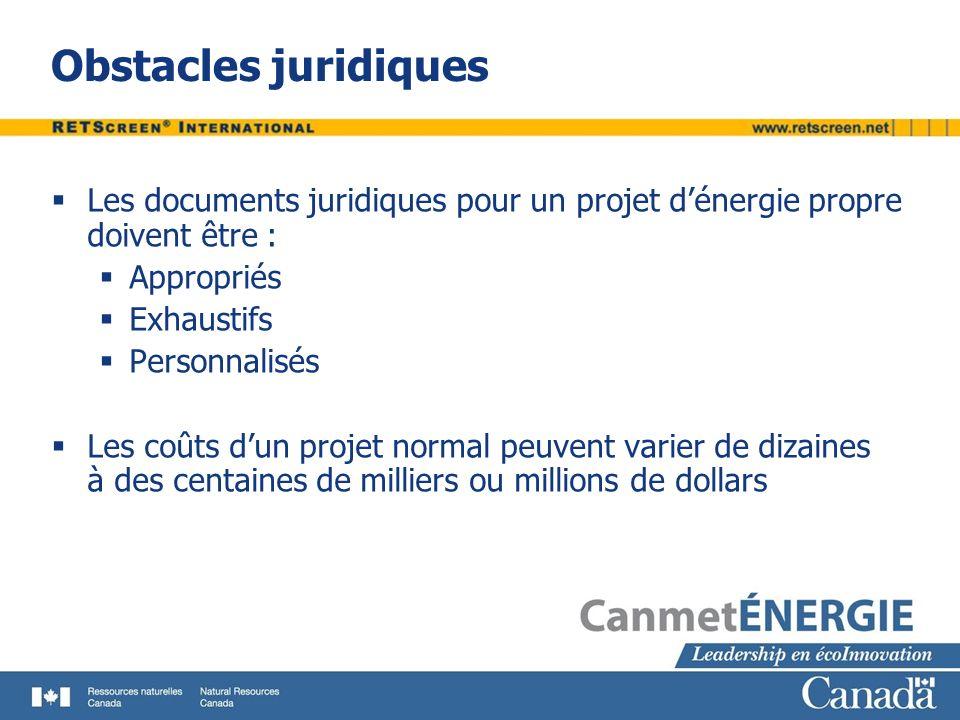 Obstacles juridiques Les documents juridiques pour un projet d'énergie propre doivent être : Appropriés.