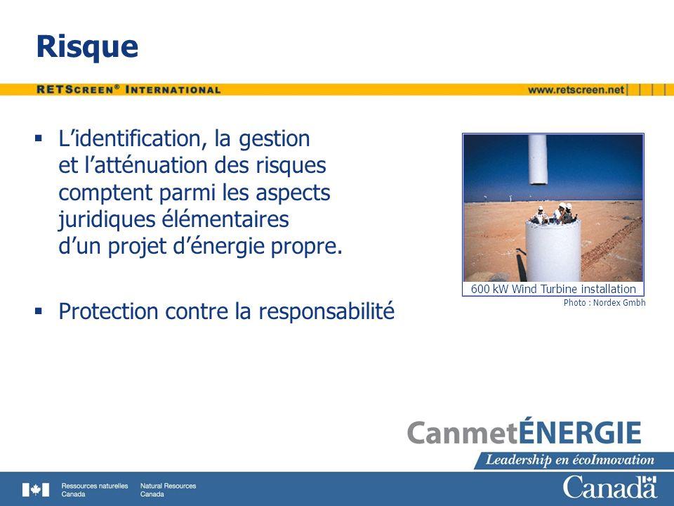 Risque L'identification, la gestion et l'atténuation des risques comptent parmi les aspects juridiques élémentaires d'un projet d'énergie propre.
