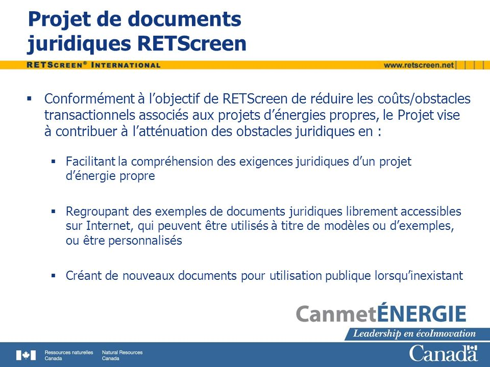 Projet de documents juridiques RETScreen