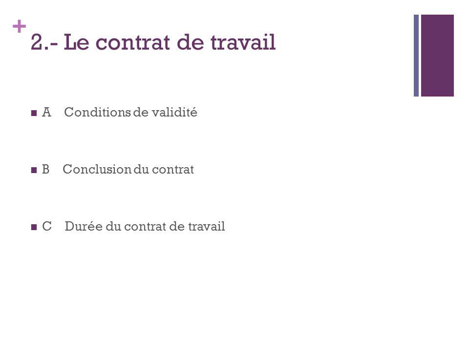 2.- Le contrat de travail A Conditions de validité