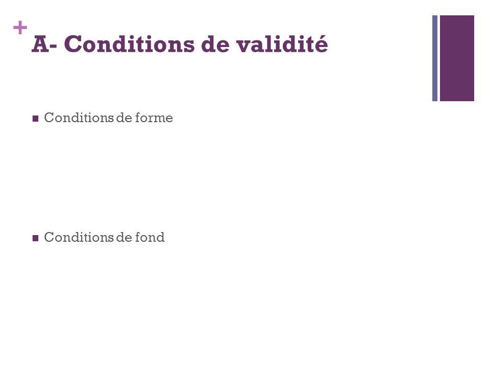 A- Conditions de validité
