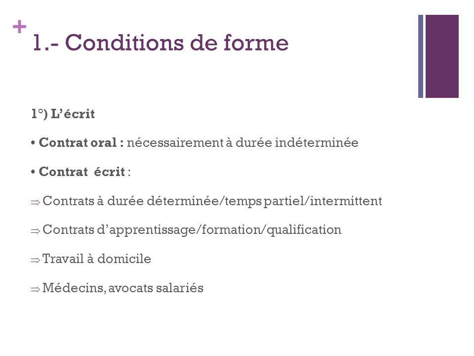 1.- Conditions de forme 1°) L'écrit