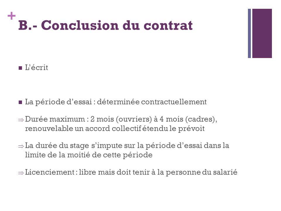 B.- Conclusion du contrat