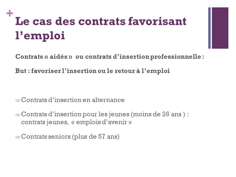 Le cas des contrats favorisant l'emploi