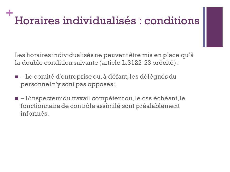 Horaires individualisés : conditions
