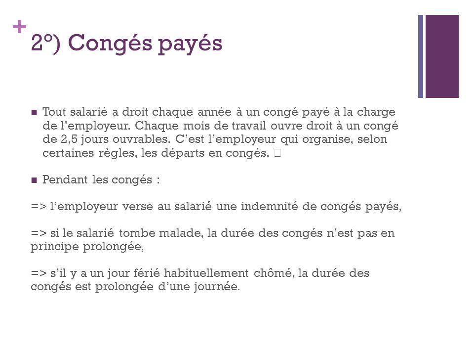 2°) Congés payés