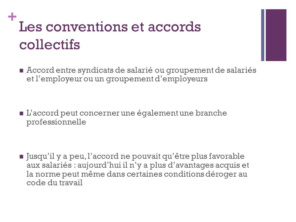 Les conventions et accords collectifs