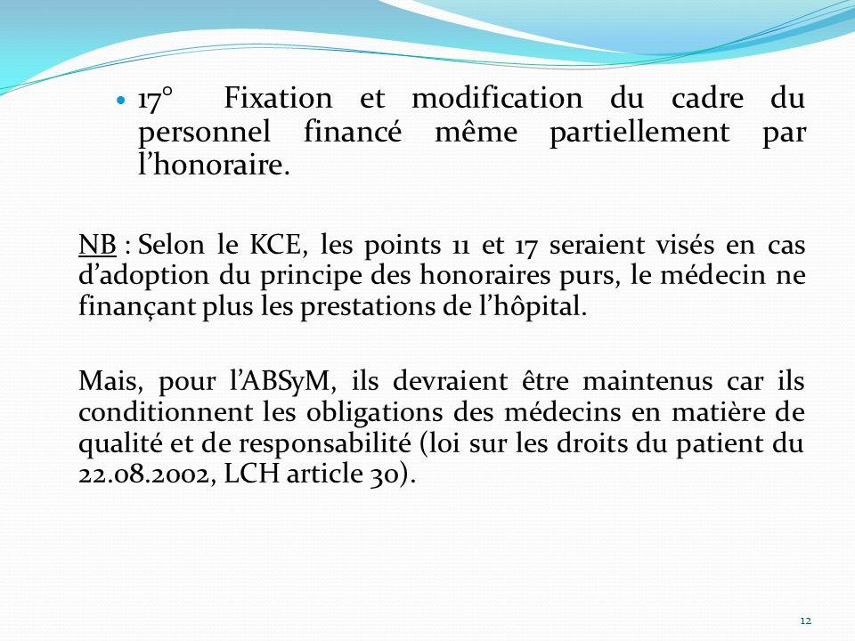 17° Fixation et modification du cadre du personnel financé même partiellement par l'honoraire.