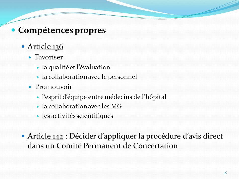 Compétences propres Article 136