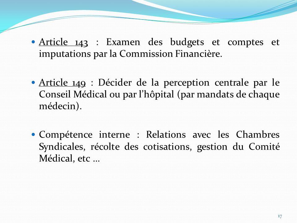 Article 143 : Examen des budgets et comptes et imputations par la Commission Financière.