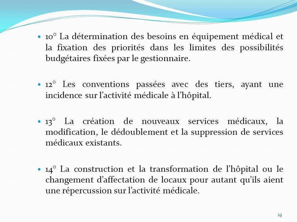 10° La détermination des besoins en équipement médical et la fixation des priorités dans les limites des possibilités budgétaires fixées par le gestionnaire.