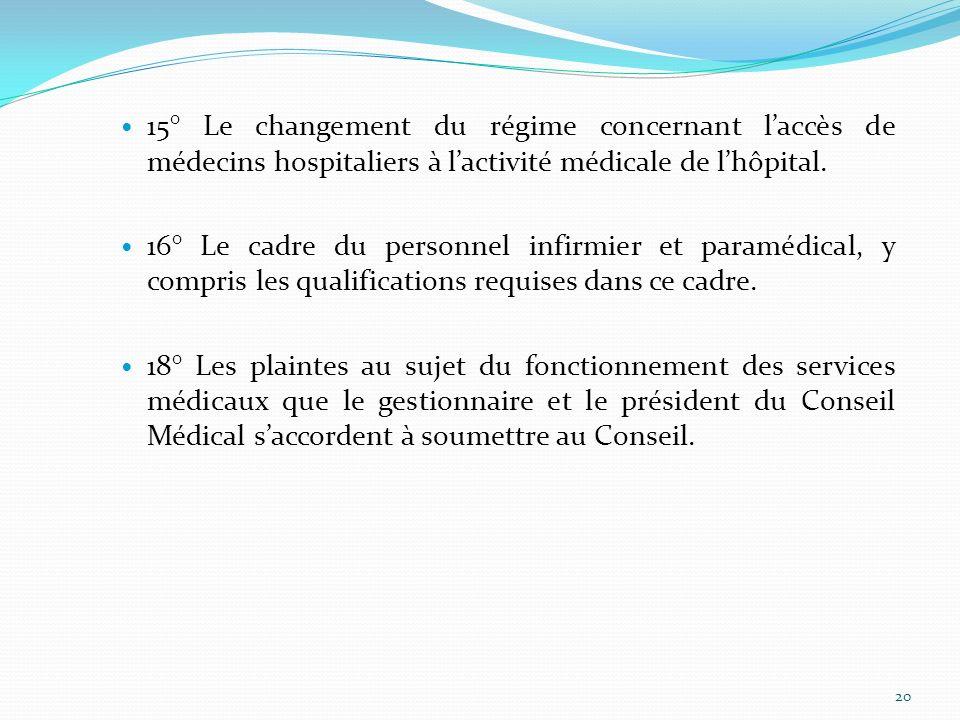 15° Le changement du régime concernant l'accès de médecins hospitaliers à l'activité médicale de l'hôpital.