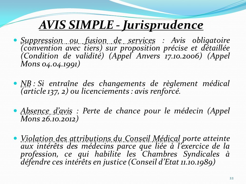 AVIS SIMPLE - Jurisprudence