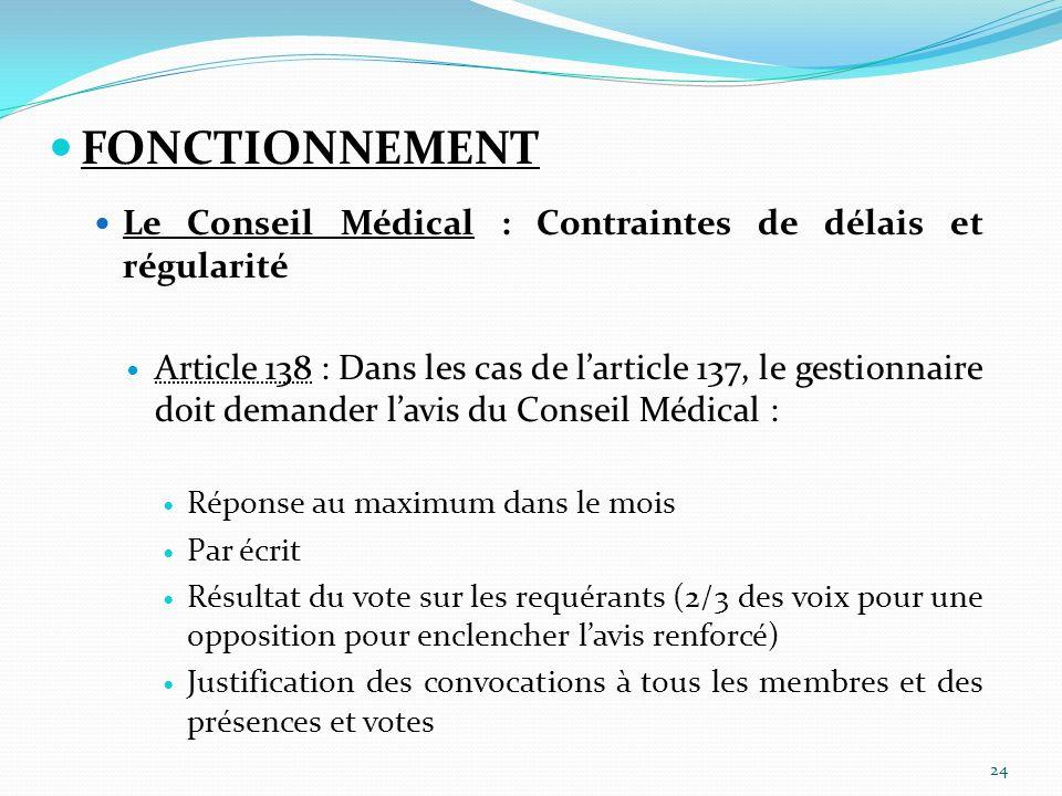 FONCTIONNEMENT Le Conseil Médical : Contraintes de délais et régularité.