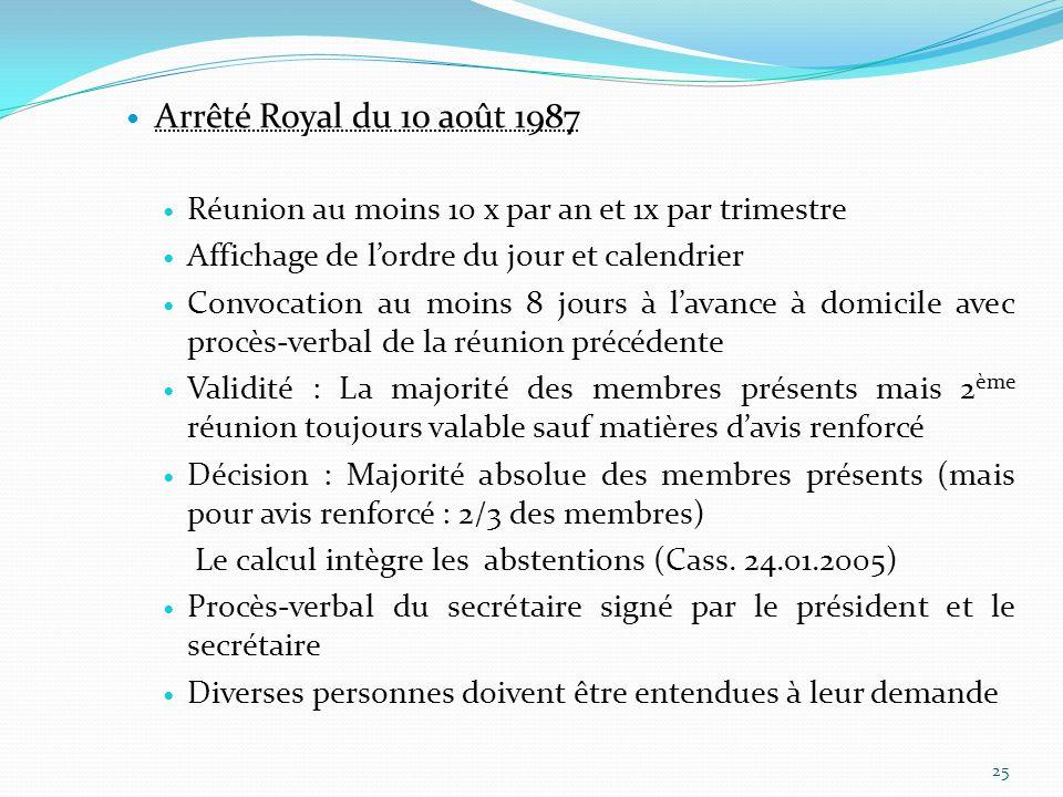 Arrêté Royal du 10 août 1987 Réunion au moins 10 x par an et 1x par trimestre. Affichage de l'ordre du jour et calendrier.