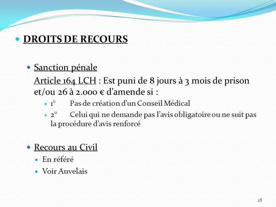 DROITS DE RECOURS Sanction pénale