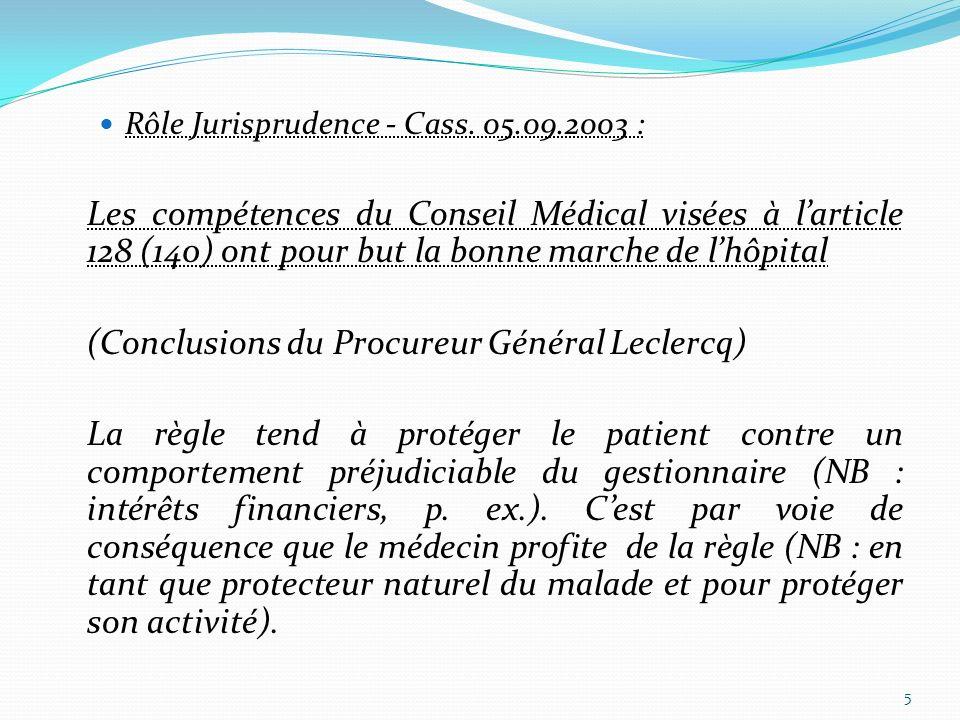 (Conclusions du Procureur Général Leclercq)