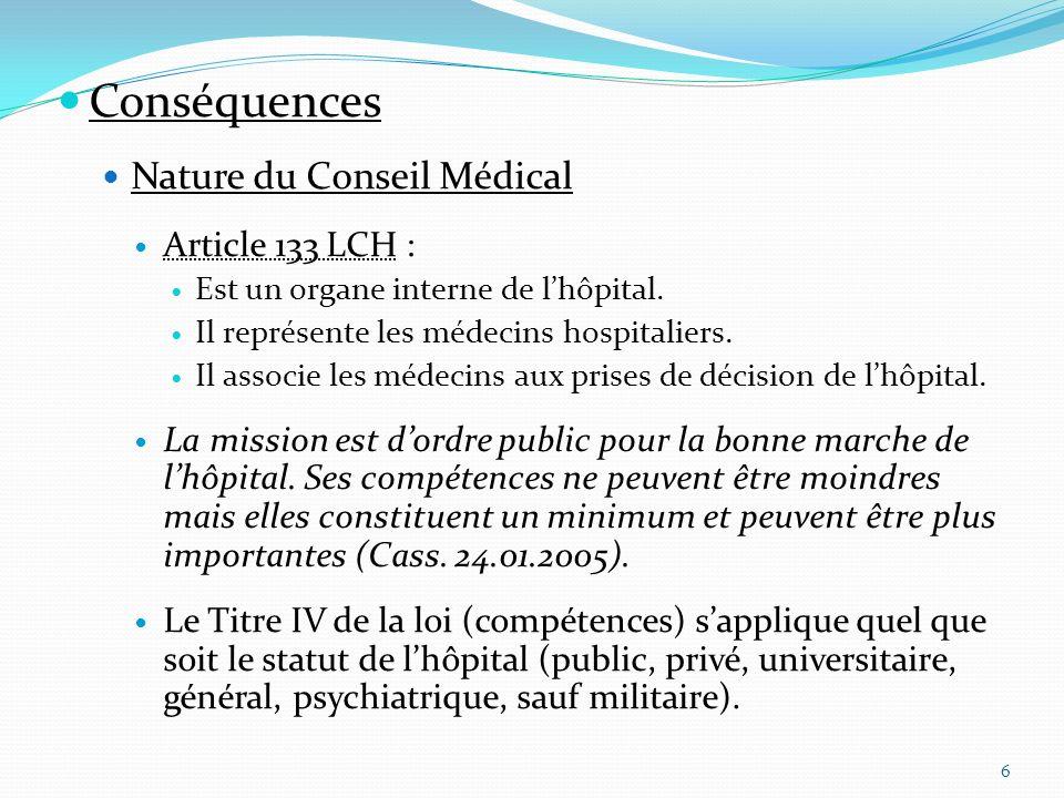 Conséquences Nature du Conseil Médical Article 133 LCH :