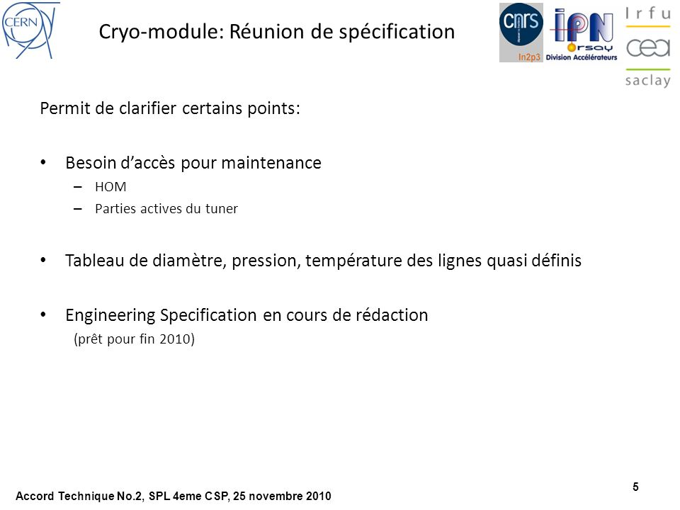 Cryo-module: Réunion de spécification