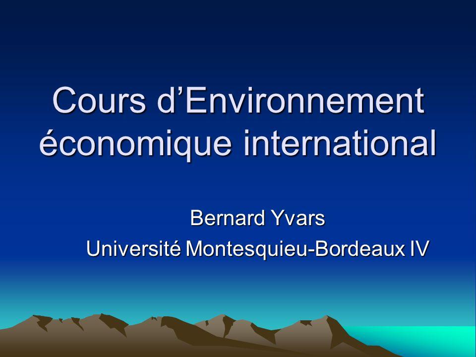 Cours d'Environnement économique international