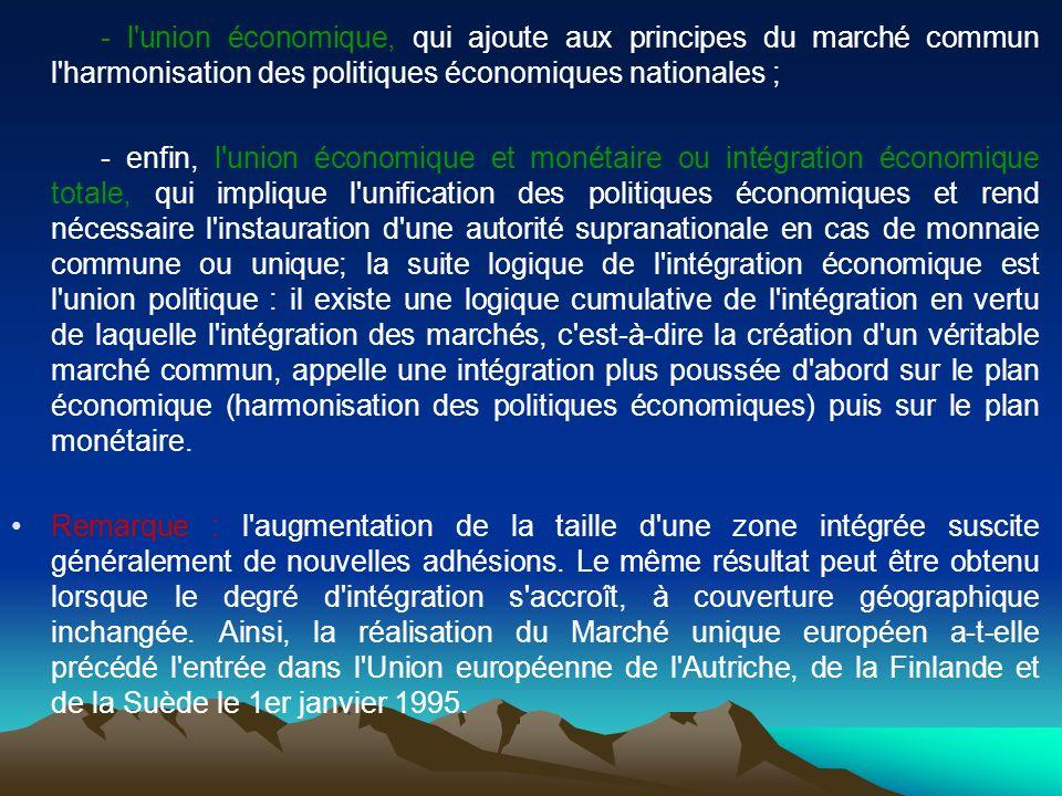 - l union économique, qui ajoute aux principes du marché commun l harmonisation des politiques économiques nationales ;