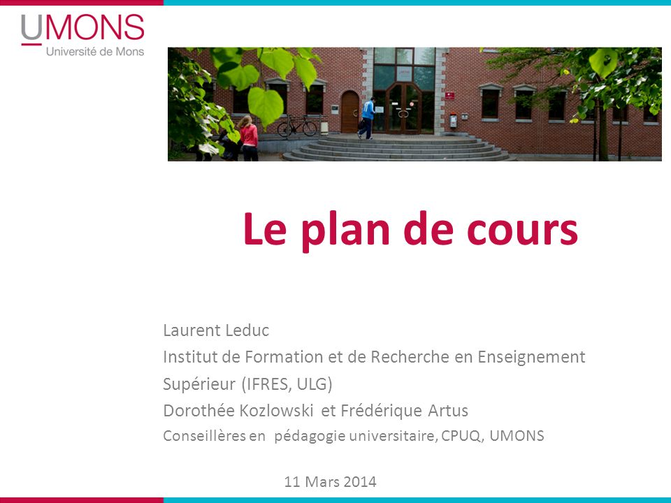 Le plan de cours Laurent Leduc