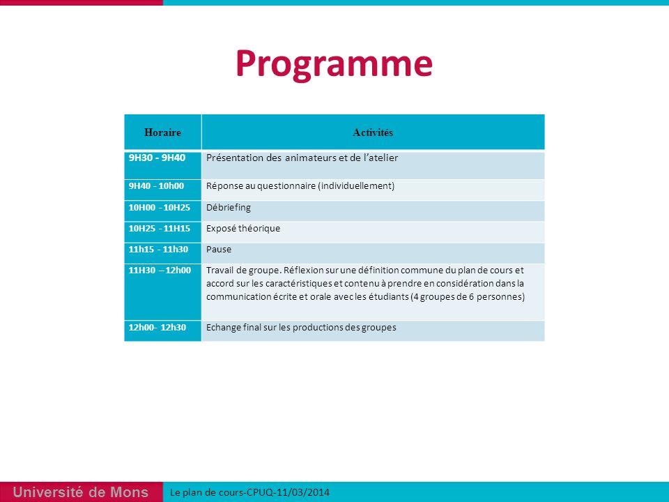 Programme Horaire Activités 9H30 - 9H40