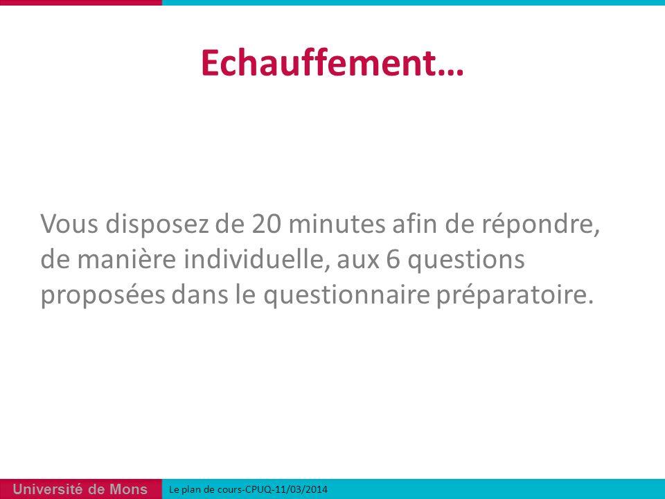 Echauffement… Vous disposez de 20 minutes afin de répondre, de manière individuelle, aux 6 questions proposées dans le questionnaire préparatoire.