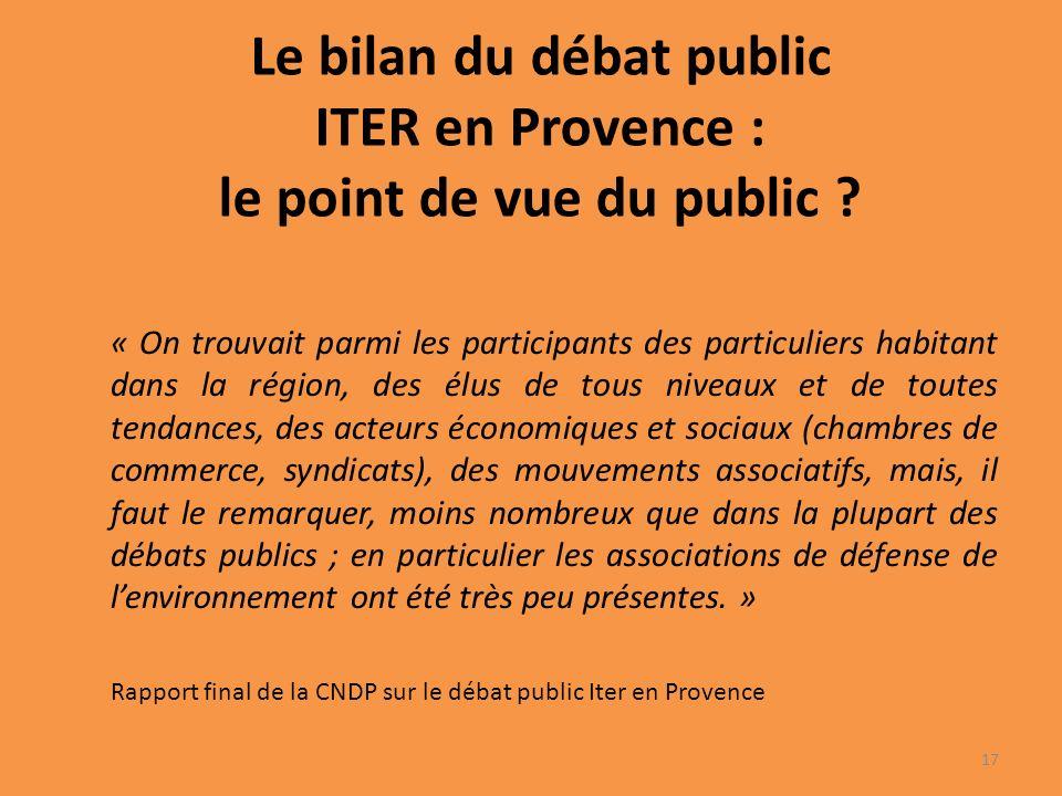 Le bilan du débat public ITER en Provence : le point de vue du public