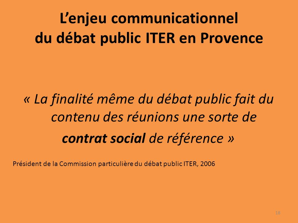 L'enjeu communicationnel du débat public ITER en Provence