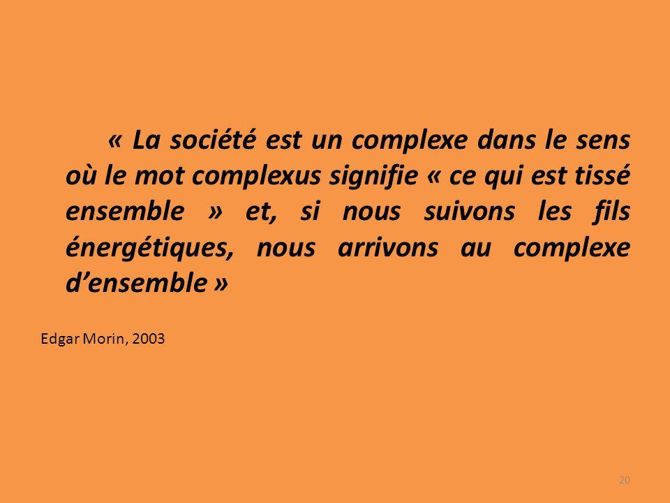 « La société est un complexe dans le sens où le mot complexus signifie « ce qui est tissé ensemble » et, si nous suivons les fils énergétiques, nous arrivons au complexe d'ensemble »