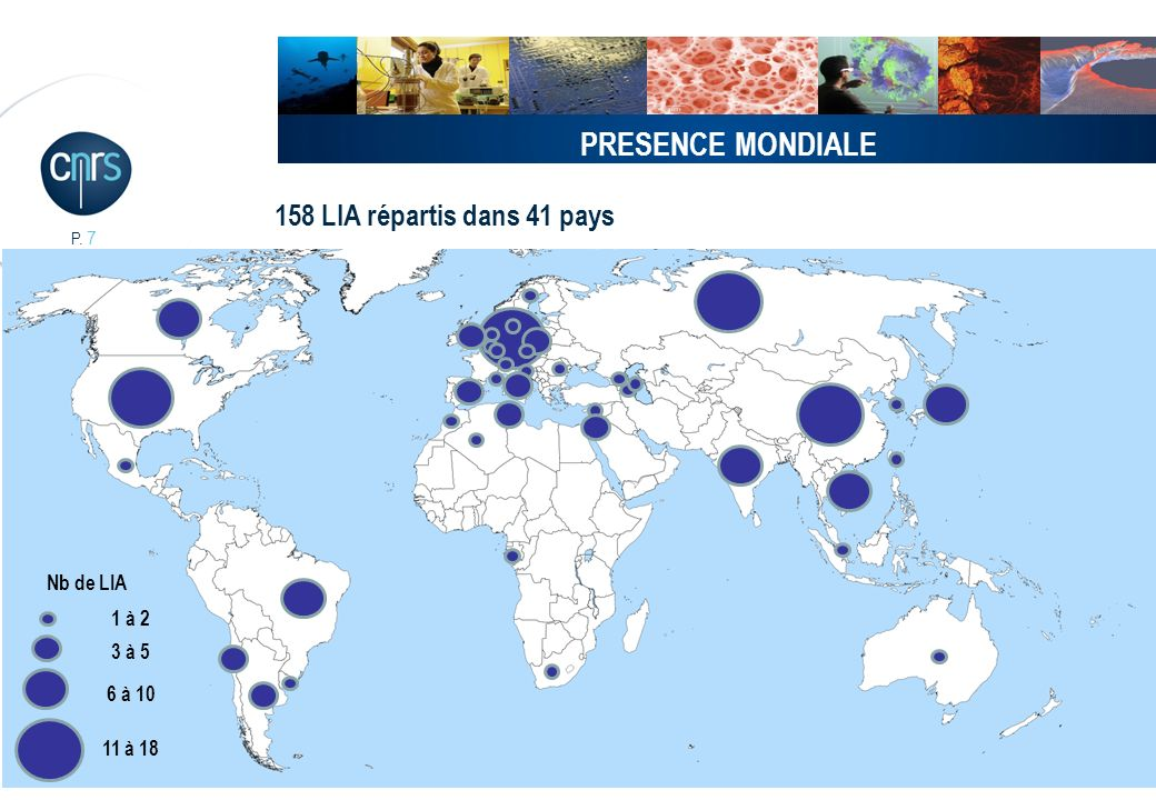 PRESENCE MONDIALE 158 LIA répartis dans 41 pays Nb de LIA 1 à 2 3 à 5